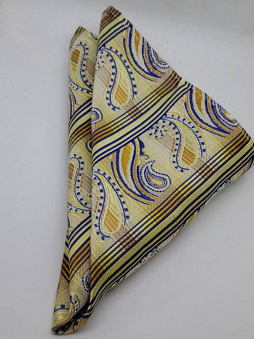 Gold, yellow, Royal Blue Paisley Pocketsquare