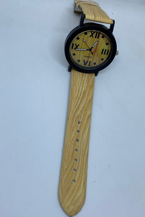 Wood Design Band & Dial, Black Case, Black Hour Markers