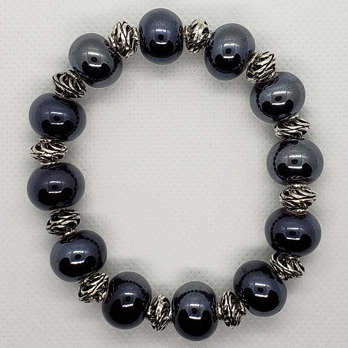 """Camden"" Spruce Blue and Silver Beaded Wrist Wear"