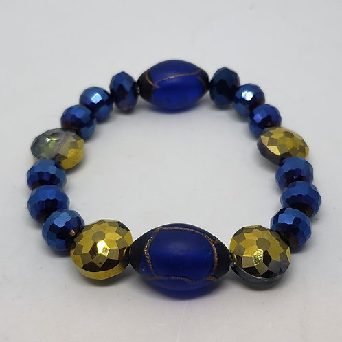 Cobalt, Gold Beaded Wrist Wear