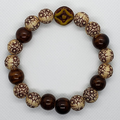 Brown and Tan Floral Beaded Wrist Wear