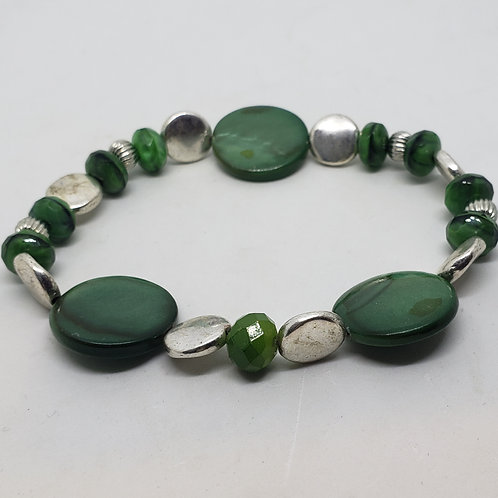 Silver, Green Beaded Wrist Wear