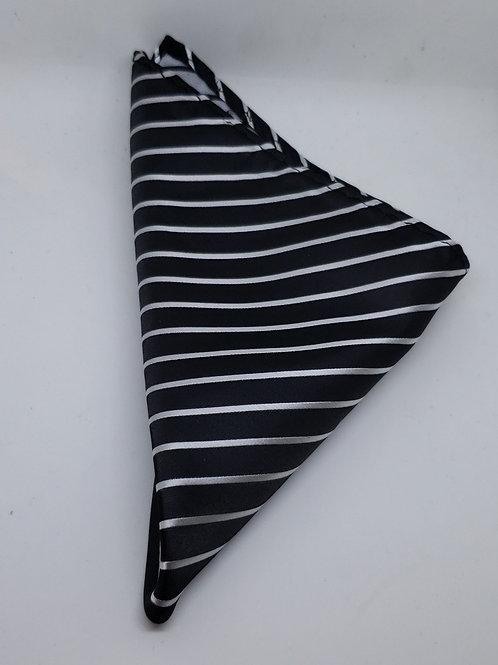 Black, Light Gray Striped Pocketsquare