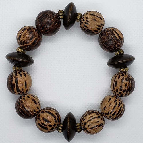 Light and Dark Circular Wood Bead Wrist Wear