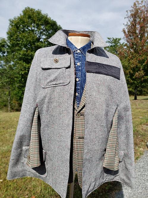 Brown/Tan Tweed Men's Cape-Coat