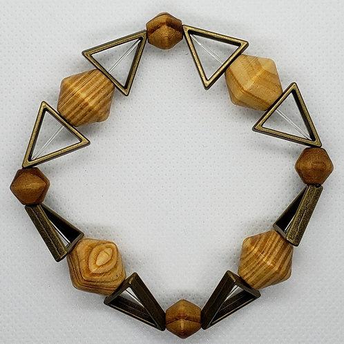 Metal triangle with wood bead wrist wear
