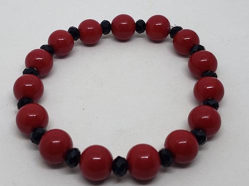 Red & Black Beaded Wrist Wear