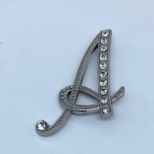 "Crystal studded silver ""A"""