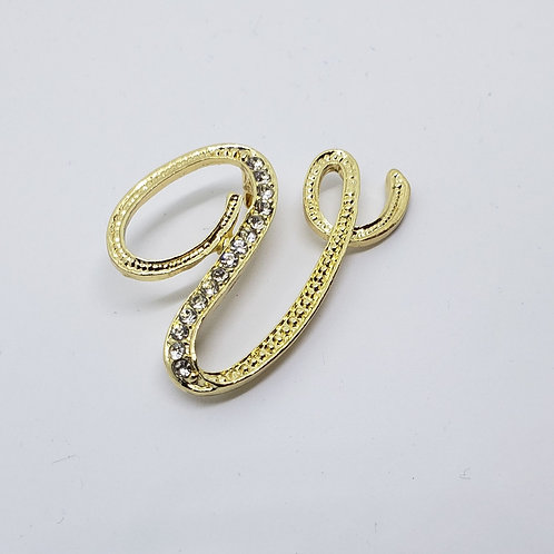 """Gold & Crystal Studded Letter """"U"""""""