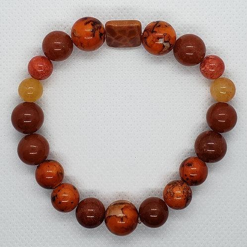 Orange Marbled Beaded Wrist Wear