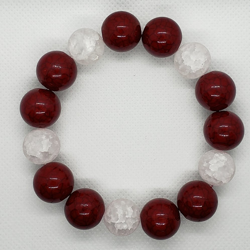 Red and Crystal Marbled Bead Wrist Wear