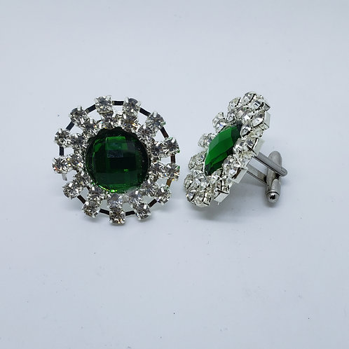 Emerald Crystal Stone Cufflinks with Clear Crystal Border