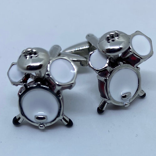 Silver and Red Drumset Cufflinks