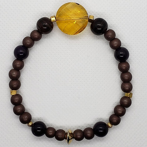 Brown Bead with Glass Center Bead Wrist Wear