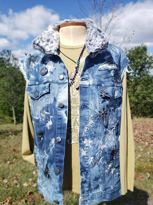 Denim Jacket Vest with Faux Rabbit Fur