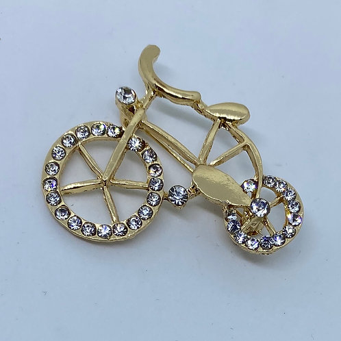 Gold and Crystal Rhinestone Bike Boutonnière