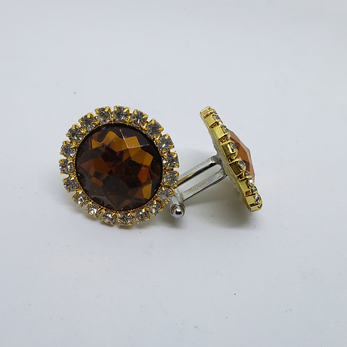 Dark Smoked Topaz & Gold Cufflinks