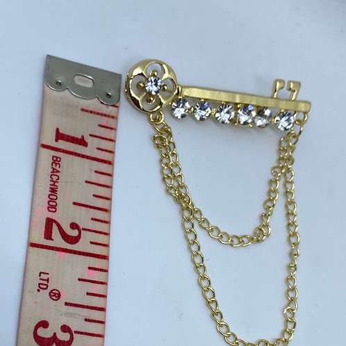 Golden Key with Chain & Crystal Studs