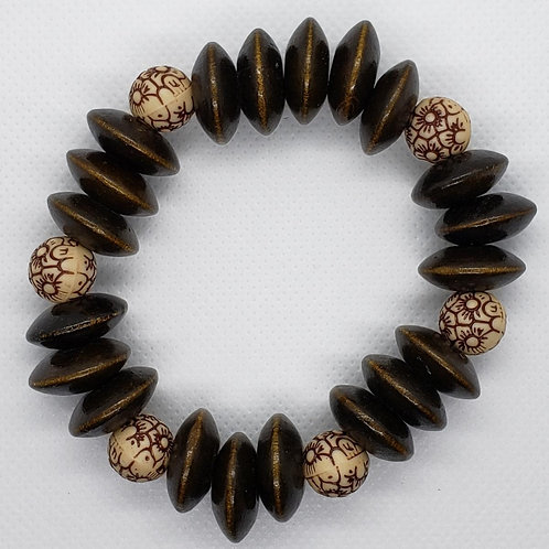 Brown Disk and Tan Floral Bead Wooden Wrist Wear