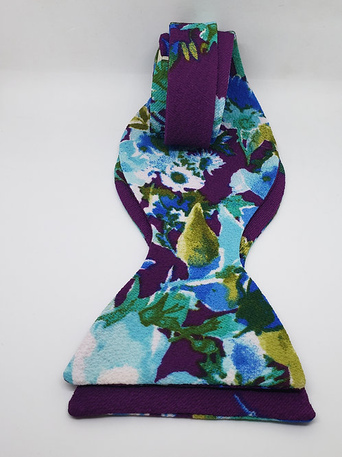 Mulberry, Floral Print Self-Tying Bowtie