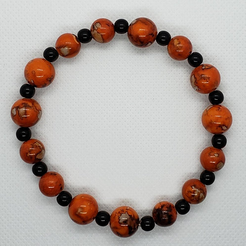 Orange Marbled and Black Beaded Wrist Wear