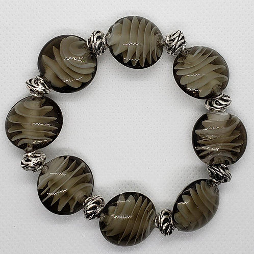 Glass Encased Seashell with Silver Spiraled Spacer Beaded Wrist Wear