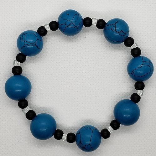 Aegean Blue, Black and Crystal Beaded Wrist Wear