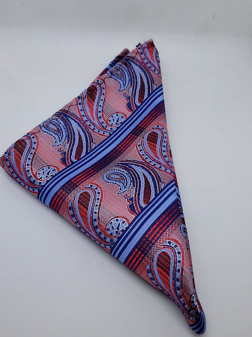 Red, Navy, Light Blue Paisely Pocketsquare