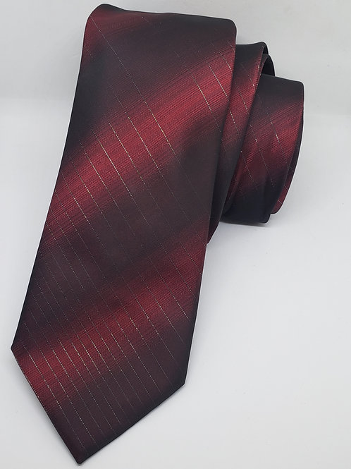 Red, Black, Silver Striped Necktie