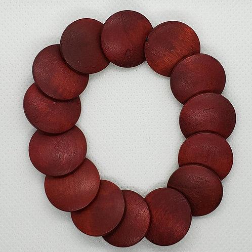 Red Wooden Disk Wrist Wear
