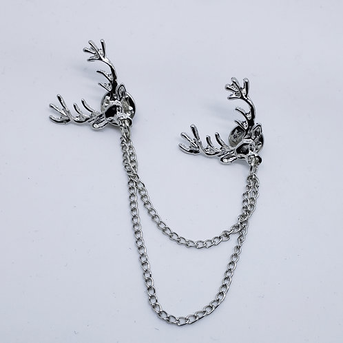 2 Silver Bucks Chained Boutonniere