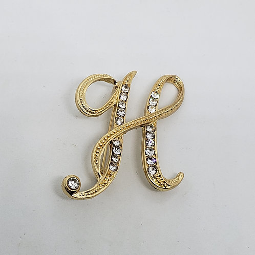 "2 in. Letter ""H"" Rhinestone on Gold Boutonniere"