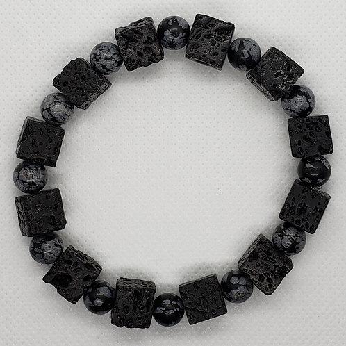 """Ashe"" Black Lava Rock, Gray and Black Marble Beaded Wrist Wear"