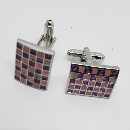 Pink & Purple/ Silver Rectangular Finish Cufflinks