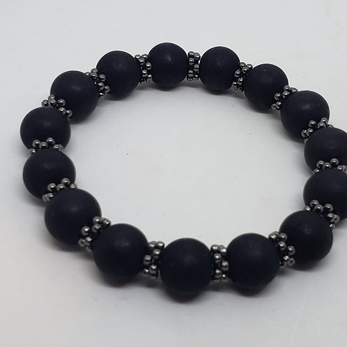 Black Matte Pearl Beaded, Silver Spacer Beads