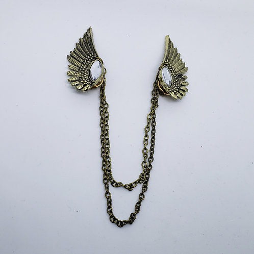 Antique Gold Hawk Wings/ Crystal Eyelet