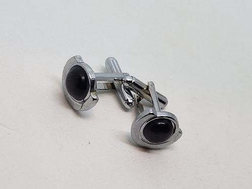 Silver, Black Pearl Cufflinks