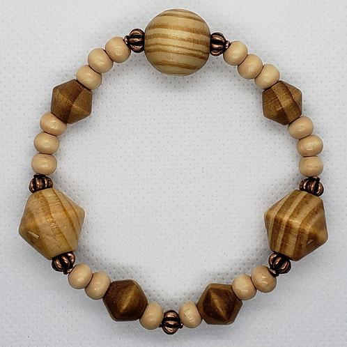 Wooden with Bronze Crown Wrist Wear