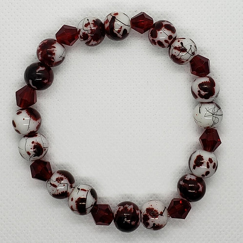 Marbled Red and White Beaded Wrist Wear