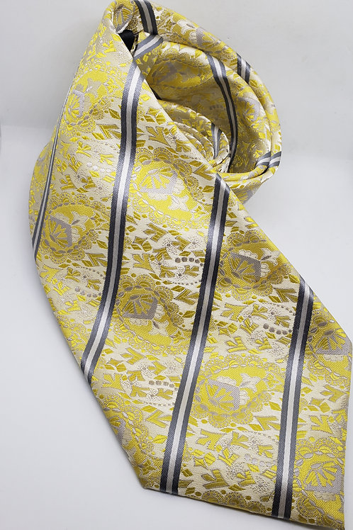 Yellow Abstract, Grey Striped Necktie
