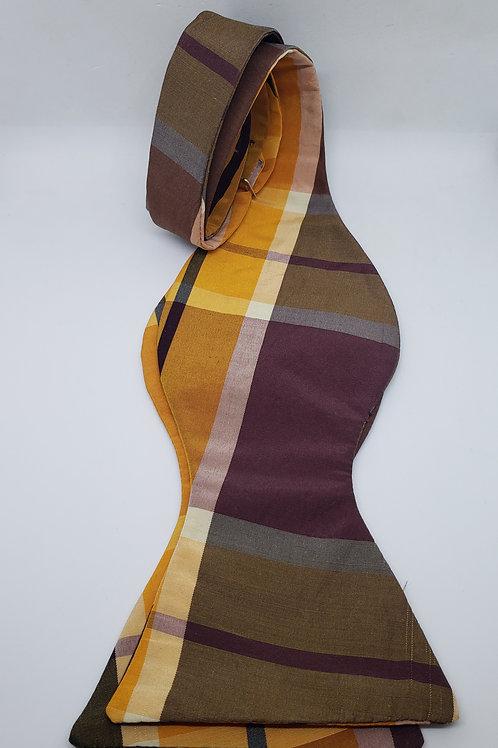 Gold, Wine, White, Black Plaid Pattern Silk Bowtie