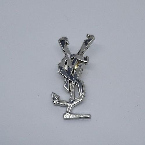 Silver Plated Brass YSL Brooch