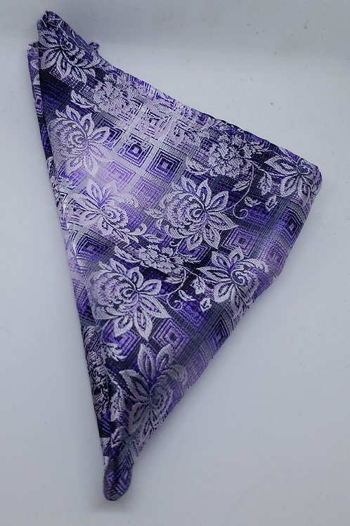 Purple, Lilac, Gray Floral Pocketsquare