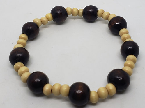 Dark & Light Brown Beaded Wooden Wrist Wear