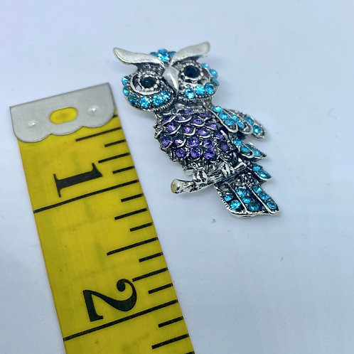 Purple, Teal, Crystal Owl, Onyx Eyes