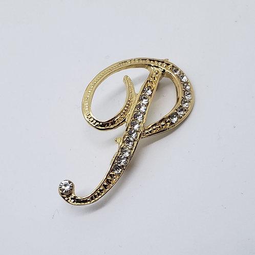 "Gold & Crystal Studded Letter ""P"""