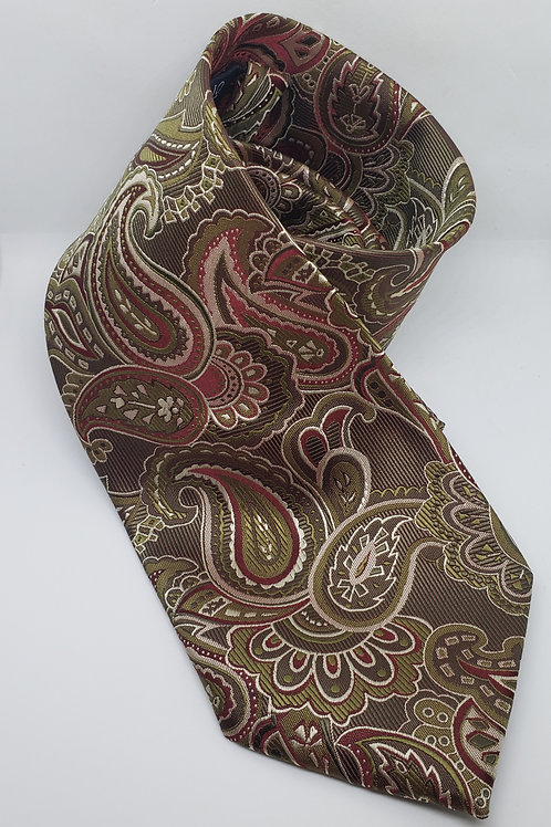 Red, Brown Paisley Necktie