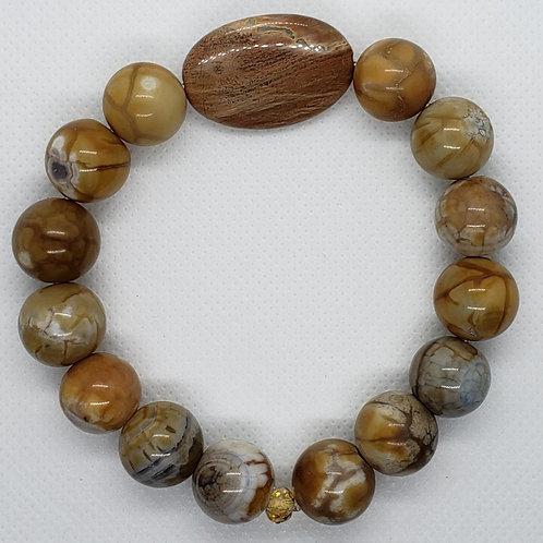 Brown Jasper Beaded with Center Bead Wrist Wear