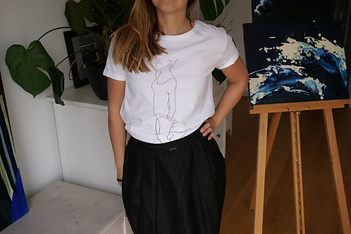 BiałyT-shirt basic z nadrukiem rysunku Doriana Karolaka
