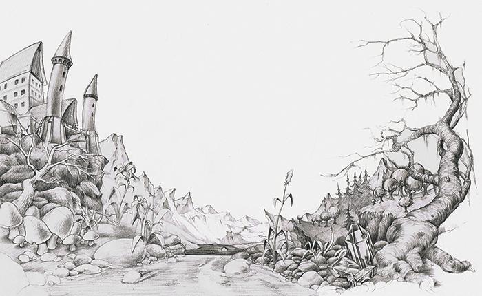 Zeichnung Landschaft
